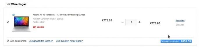 Gearbest: Xiaomi Mi Notebook Air 13 für 653,53 Euro (Screenshot: ZDNet.de)