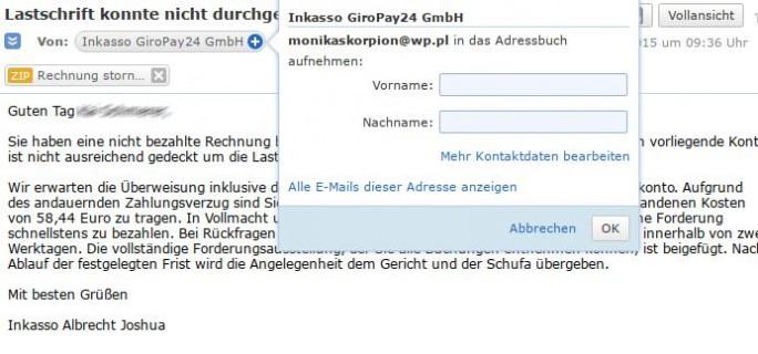 Gefälschte E-Mail: Inkasso (Screenshot: ZDNet.de)