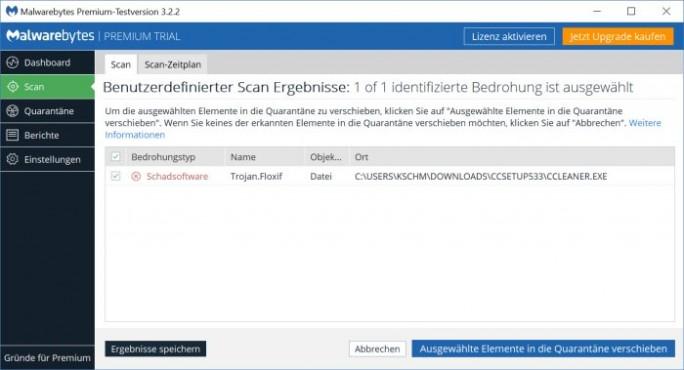 Malwarebytes erkennt die Schadsoftware in der 32-Bit-Version von CCleaner ebenfalls (Bild: ZDNet.de).