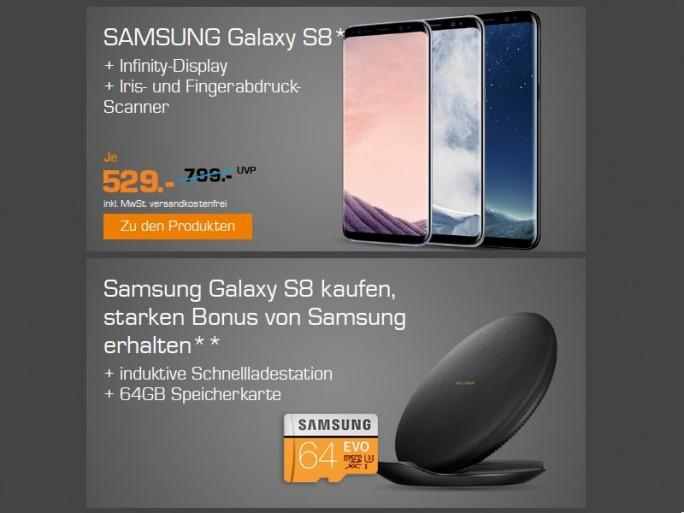 Samsung-Bundle: Galaxy S8 und Galaxy S8+ mit induktiver Schnellladestation und microSD-Karte mit 64 GByte Kapazität (Screenshot: ZDNet.de)