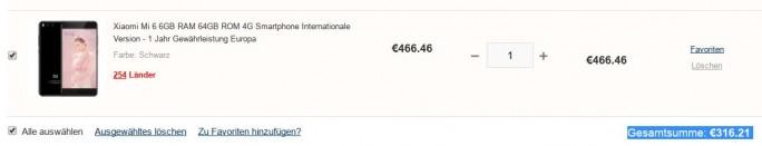 Xiaomi Mi 6 für 316 Euro (Screeenshot: ZDNet.de)