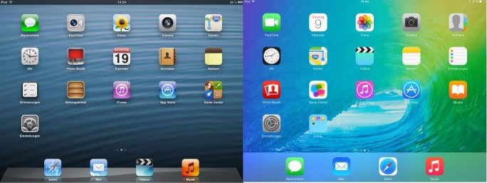 Startbildschirm von iOS 6 mit 3D-Design und iOS 9 mit flachem Design im Vergleich (Screenshot: ZDNet.de).