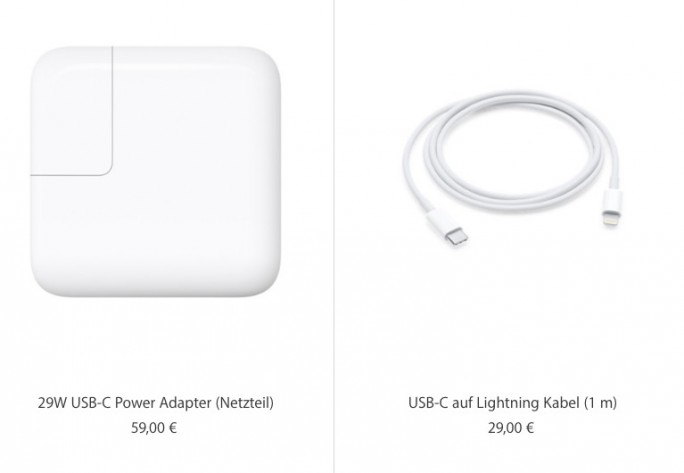 iPhone X: Ladegerät mit Kabel für 88 Euro erhältlich (Screenshot: ZDNet.de)