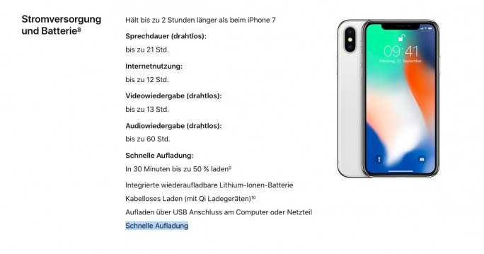 iPhone X bietet eine Schnellladefunktion (Screenshot: ZDNet.de)