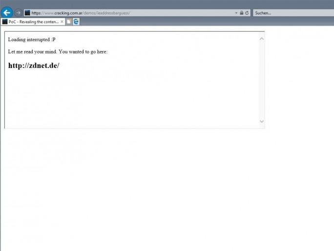 Ein Bug in Internet Explorer legt jegliche Eingaben in die Adressleiste gegenüber der aktuell besuchten Website offen (Screenshot: ZDNet.de).