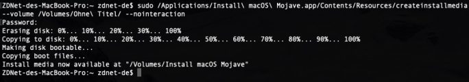 Mit dem Kommando createinstallmedia wird ein bootbarerer USB-Stick erzeugt (Screenshot: ZDNet.de).