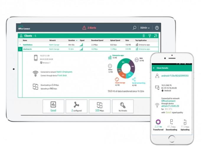 Neben der Einrichtung der Access Points zeigt die Verwaltungs-App auch Informationen an (Screenshot: HPE).