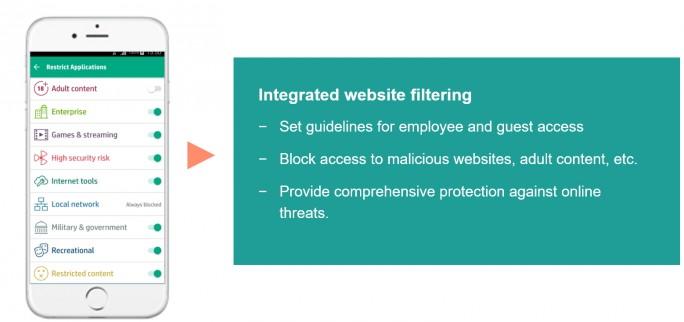 Mit der Website-Filterung wird die Sicherheit im WLAN deutlich erhöht (Screenshot: HPE).