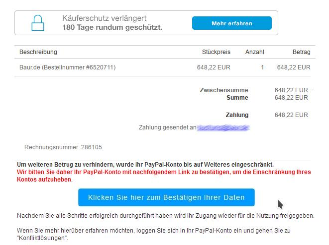 Paypal-Phishing (Screenshot: ZDNet.de)