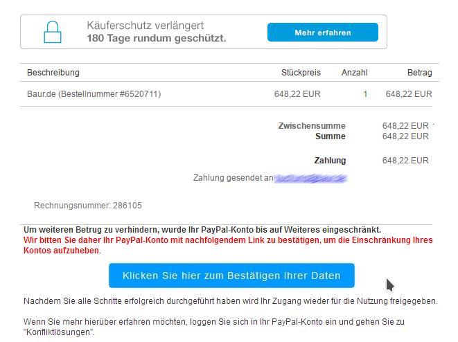 Paypal-Phishing (Screenshot: ZDNet.de)