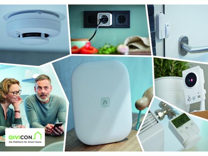 Mit der Qivicon Home Base lassen sich Geräte unterschiedlicher Hersteller mit einander kombinieren und per App steuern (Bild: Telekom).