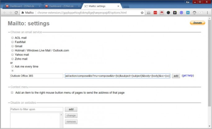 1-Outlook-Office-365-Mailto (Screenshot: ZDNet.de)
