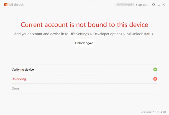Mi Unlock: Gerät nicht mit Konto verbunden (Screenshot: ZDNet.de)