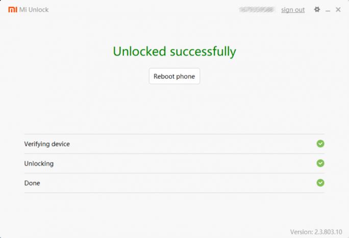 Mi Unlock: Bootloader-Entsperrung erfolgreich (Screenshot: ZDNet.de)