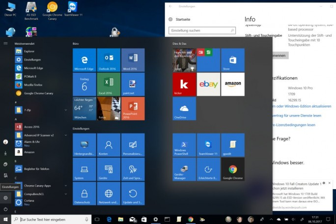Windows 10 Fall Creators Update: Desktop (Screenshot: ZDNet.de)