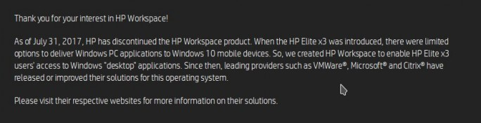 HP Workspace eingstellt (Screenshot: ZDNet.de)