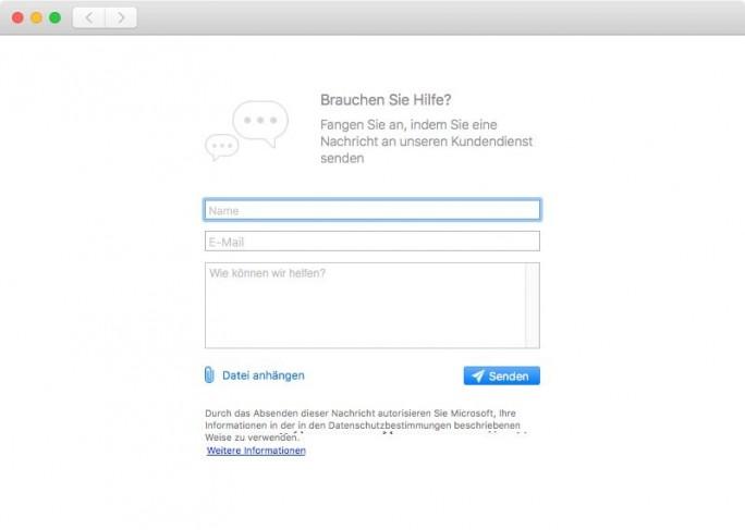 Kontaktformular Microsoft Outlook für macOS (Screenshot: ZDNet.de)
