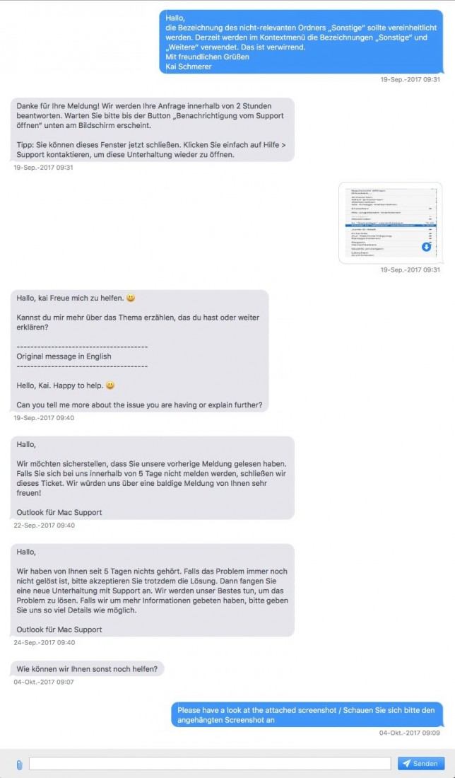 Konversation mit MS Service-Bot (Screenshot: ZDNet.de)