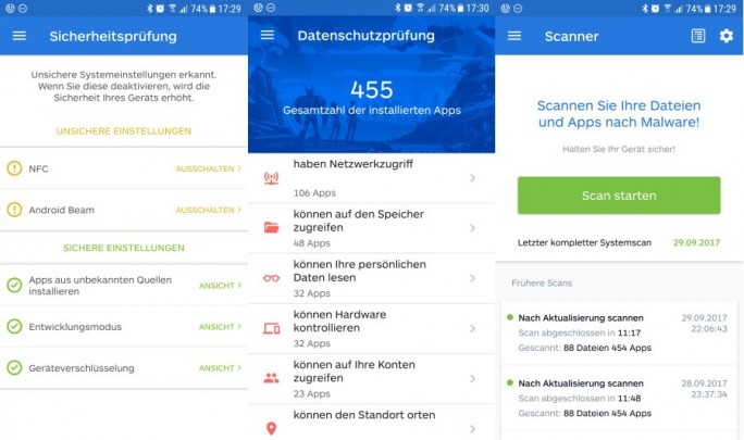 Malwarebytes unter Android (Screenshot: ZDNet.de)