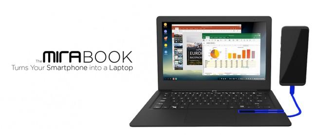 Das Mirabook funktioniert in Verbindung mit einem kompatiblen Smartphone wie ein Notebook (Bild: Miraxess)