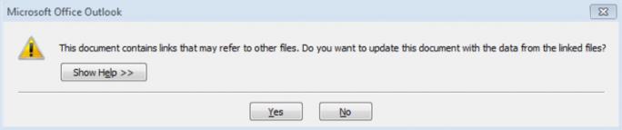 """Die DDE-Attacke lässt sich von Nutzern relativ leicht abwenden, wenn sie hier auf """"Nein"""" klicken (Screensot: Sophos)"""