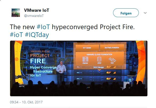 Anfang der Woche hat VMware einen ersten Blick auf die mit dem Project Fire verfolgten Ziele gegeben. (Screenshot: silicon.de bei Twitter)