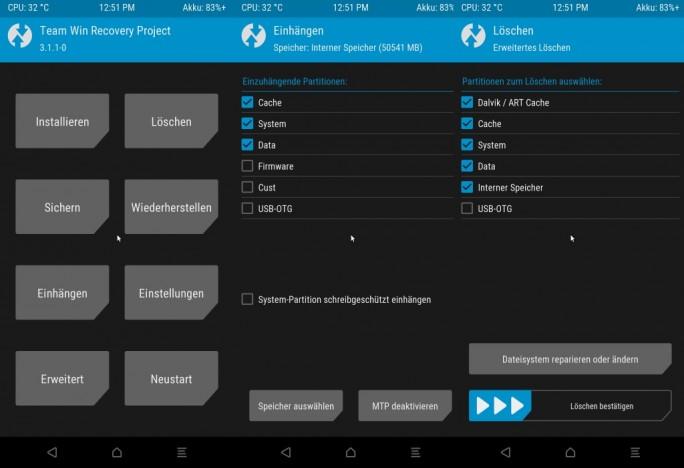 Xiaomi Mi MIX 2: TWRP alles loeschen (Screenshot: ZDNet.de)