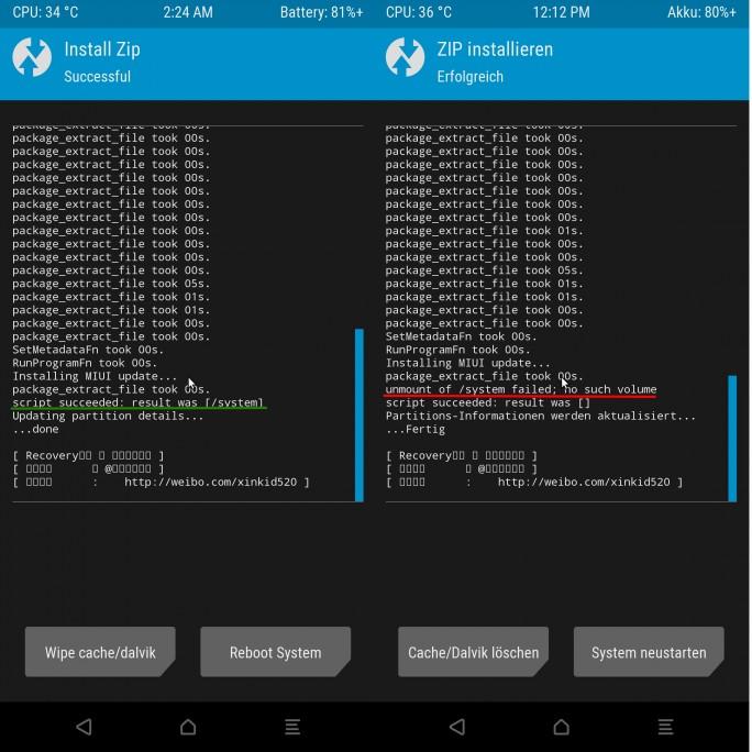 Xiaomi Mi MIX 2: TWRP mit Fehlermeldung (Screeenshot: ZDNet.de)