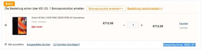 """Xiaomi Mi Mix 2 256 GByte mit Rabattcode """"XMMNE2"""" für 527 Euro (Screenshot: ZDNet.de)"""