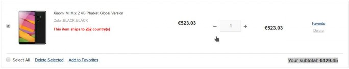 Das Xiaomi Mi Mix 2 kostet mit dem Rabattcode GLOmix2 429,45 Euro (Screenshot: ZDNet.de)
