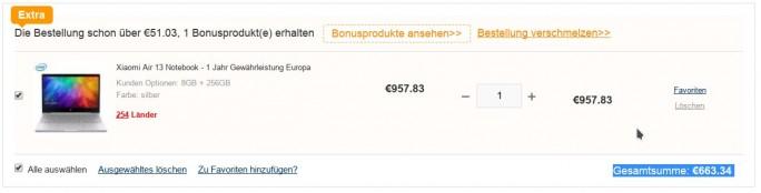 Xiaomi Mi Notebook Air 256 GByte für 663 Euro (Bild: ZDNet.de)