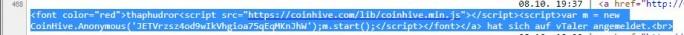 Webseiten mit Coinhive-Code (Screenshot: ZDNet.de)