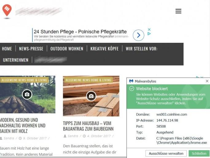 Coinhive-Mining: Malwarebytes erkennt Webseiten (Screenshoot: ZDNet.de)
