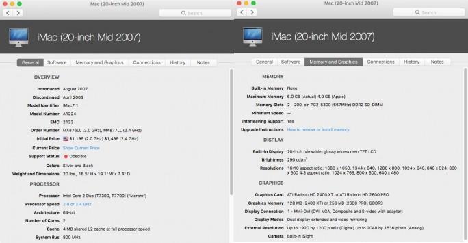iMac-20-2007-Technische-Daten (Screenshot: ZDNet.de)