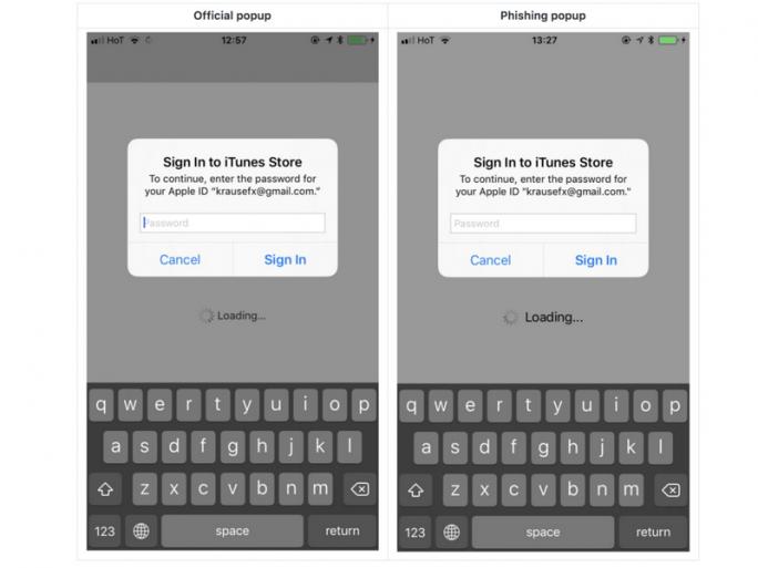 Offizielles Pop-up und Phishing-Pop-up (Bild: Felix Krause)