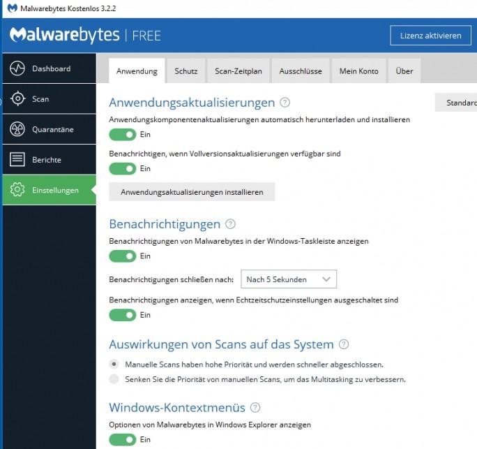 In den Einstellungen von Virenscannern wie Malwarebytes 3 lässt sich festlegen, dass die Software automatisch aktualisiert wird (Screenshot: Thomas Joos).