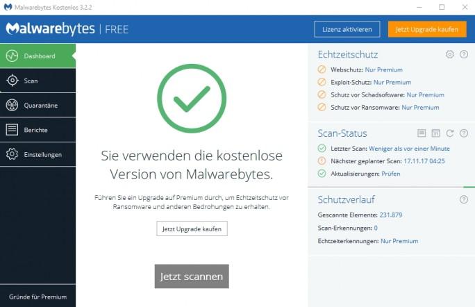 Malwarebytes 3 steht kostenlos zur Verfügung, bietet aber in der Premium-Version mehr Schutz (Screenshot: Thomas Joos).