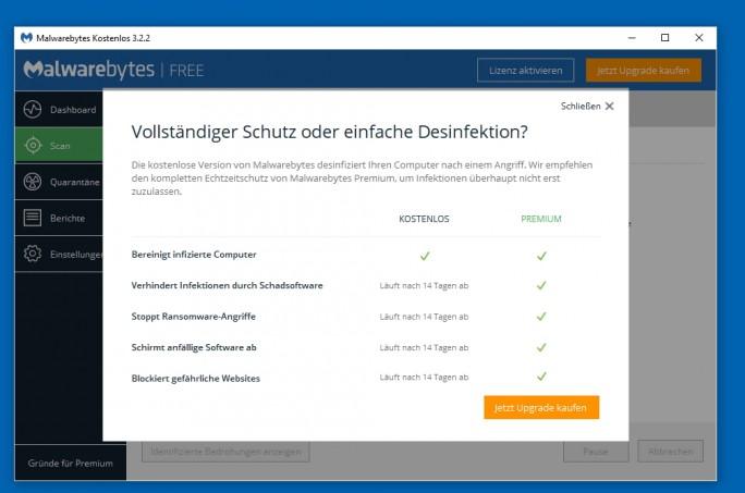 Die Premium-Version von Malwarebytes 3 bietet mehr Schutz als die kostenlose Version (Screenshot: Thomas Joos).