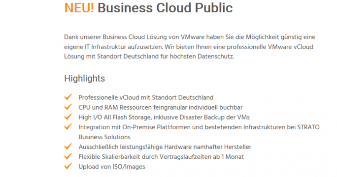 Strato erweitert Business Hosting-Portfolio um Public Cloud-Lösung (Screenshot: ZDNet.de).