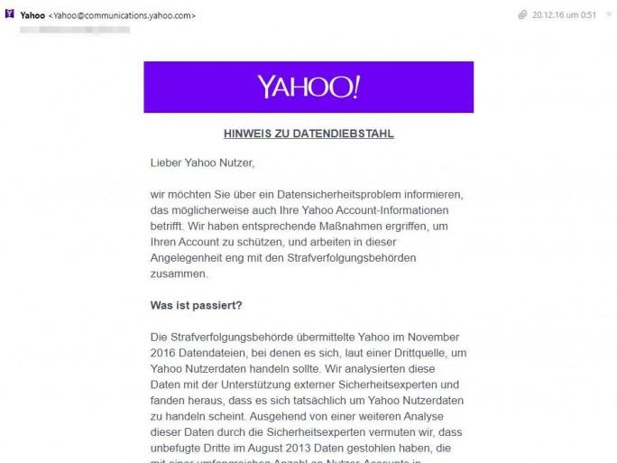 Eine ähnliche E-Mail sollten nun auch die zwei Milliarden Yahoo-Nutzer in ihrem Posteingang vorfinden, die das Unternehmen Ende 2016 nicht als Betroffene des Hackerangriffs von 2013 ausgemacht hatte (Screenshot: ZDNet.de).