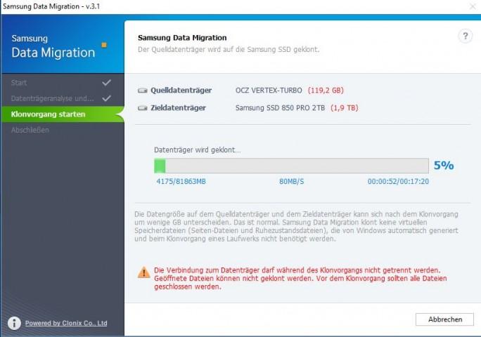 Samsung Data Migration: Klonvorgang ist gestartet (Screenshot: ZDNet.de)