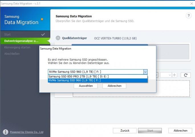 Samsung Data Migration (Screenshot: ZDNet.de)