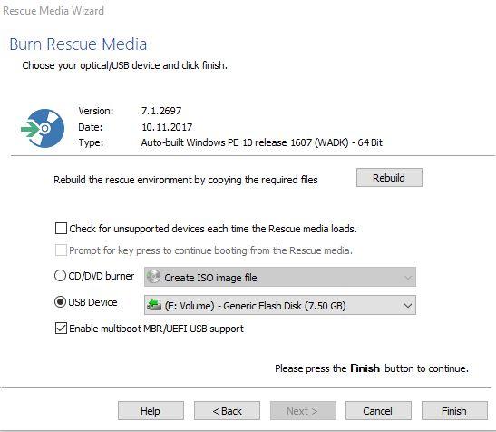 Macrium Rescue Media: USB (Screenshot: ZDNet.de)
