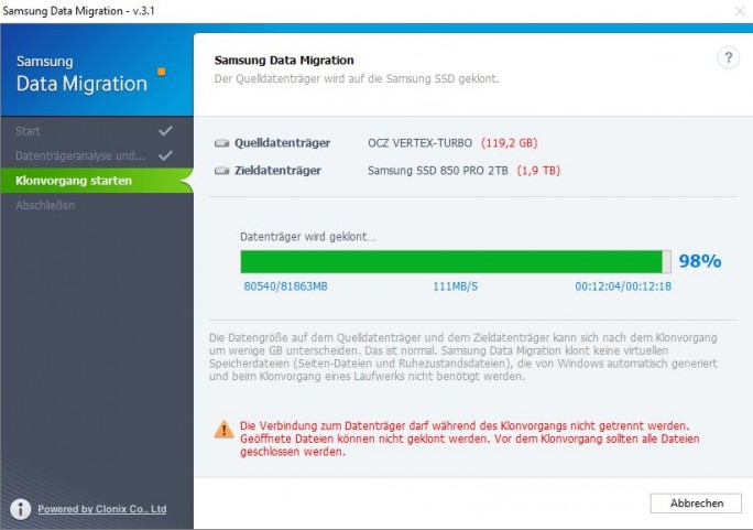 Samsung Data Migration: Klonvorgang mit 11 MByte/s (Screenshot: ZDNet.de)