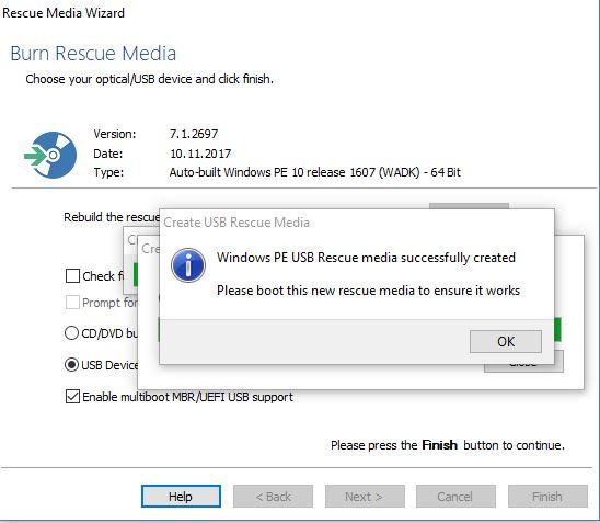 Macrium Rescue Media: Fertigstellung nach etwa drei Minuten (Screenshot: ZDNet.de)