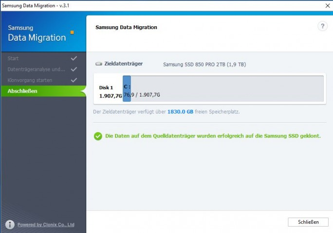 Samsung Data Migration (Screenshot: ZDNet.de)