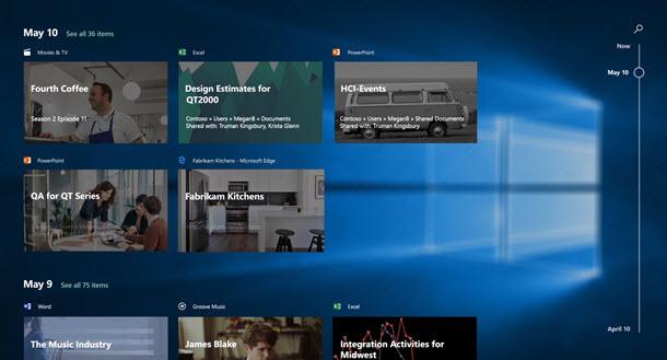 Windows 10 mit Timeline (Bild: Microsoft)