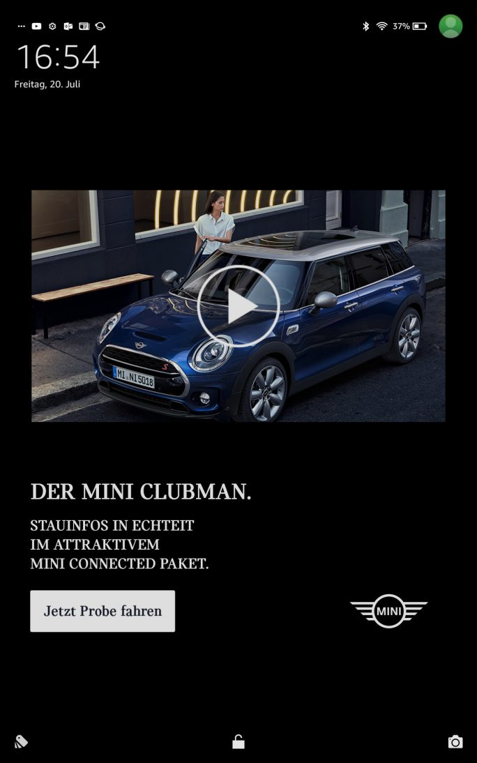 Amazon: Werbung im Sperrbildschirm (Screenshot: ZDNet.de)