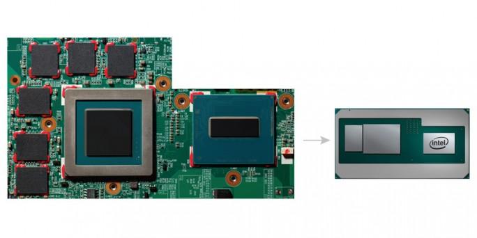 Intel-Chip mit CPU und AMD-GPU (Bild: Intel)