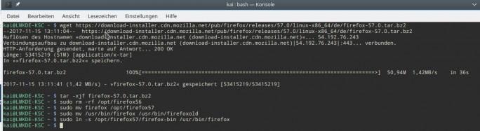 Firefox 57 Quantum unter Linux Mint installieren (Screenshot: ZDNet.de)